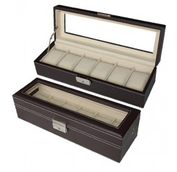 FD 6pc Leather Watchbox w/ Window (FD-49)