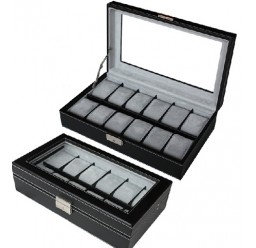 FD 12pc Leather Watchbox w/ Window (FD-50)